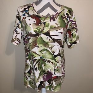 Chico's Hawaiian Round Neck Tee.